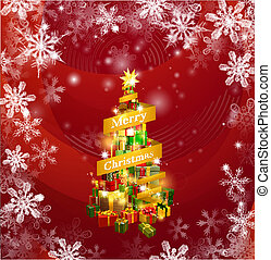 Christmas gifts snowflakes background