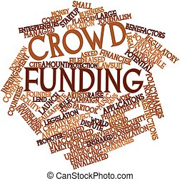 Crowd funding - Abstract word cloud for Crowd funding with...