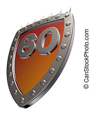 number on metal shield - shield with the number sixty - 60 -...