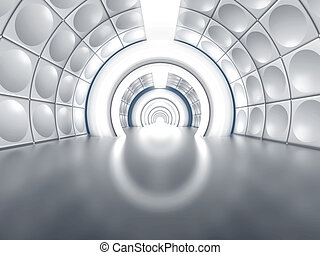 Futuristic tunnel like spaceship corridor with glowing...