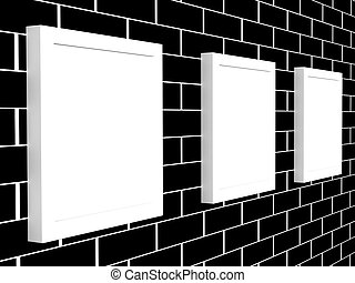 3d picture gallery on a brick wall - 3d picture gallery on a...