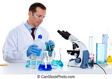 laboratory scientist working at lab with test tubes and...