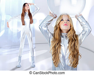 Futuristic children girl and astronaut woman