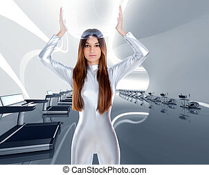 Astronaut futuristic silver woman in modern gym at spaceship...