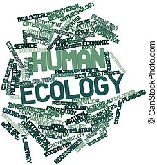 Human ecology - Abstract word cloud for Human ecology with...