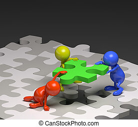 3d people teamwork with puzzle concept