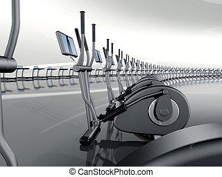 Futuristic modern gym with elliptical cross trainer -...