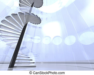 Futuristic round indoor with glass spiral staircase -...