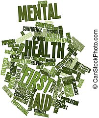 Mental health first aid - Abstract word cloud for Mental...