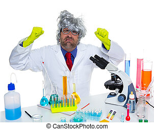 Crazy mad nerd scientist funny expression at laboratory on...