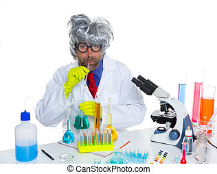 Crazy silly nerd scientist drinking chemical experiment