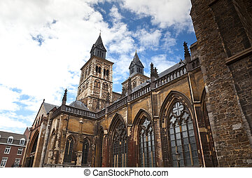 Vrijthof, Saint Servatius Basilica Romanesque church in...
