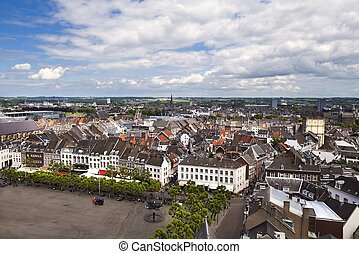 view on Maastricht city from top of Red tower, Limburg,...