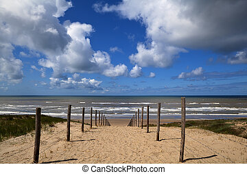 path to the beach on North Sea in Zandvoort aan Zee,...