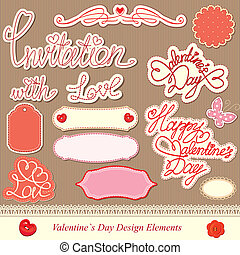 valentine's day design elements - different labels