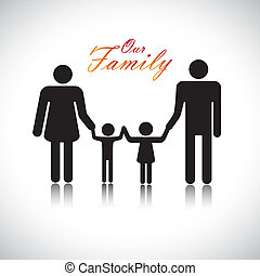 """Happy family of father, mother, daughter & son together with text """"Our Family"""". The colorful graphic contains parents and their children's silhouette holding hands together forming a nuclear family."""