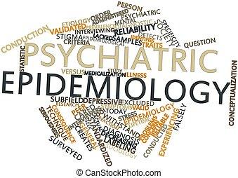 palabra, nube, psiquiátrico, epidemiología