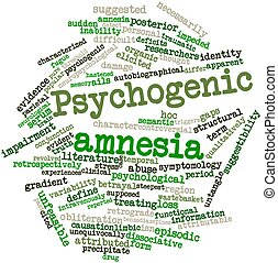 Psychogenic amnesia - Abstract word cloud for Psychogenic...