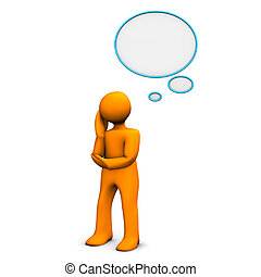 Contemplation - Orange cartoon character with thought...
