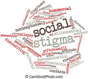 Social stigma - Abstract word cloud for Social stigma with...