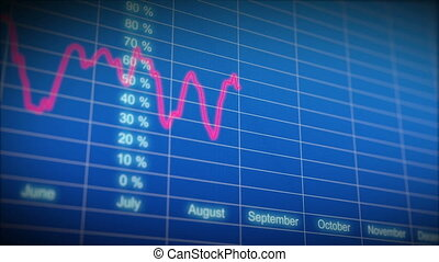 Stock Market board with graph. Loop - Stock Market board...