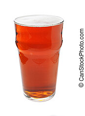 Pint of beer - pint of bitter beer isolated on white