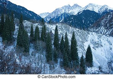 Winter snow mountain scene