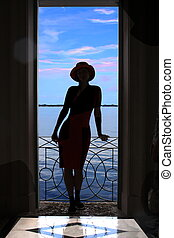 Woman silhouette - Beautiful woman silhouette at sunset