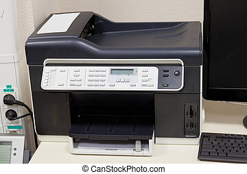 Office copy center under the white background