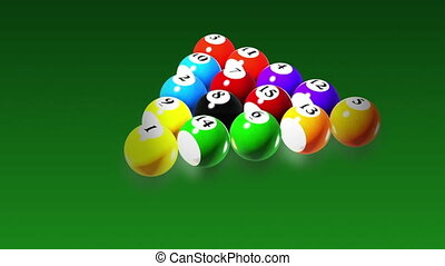 Billiards - Rotation on green background, seamless loop