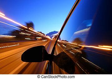 night drive motion blurred transportation background