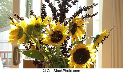 Wine Toast with Sunflowers in Background - White wine toast...