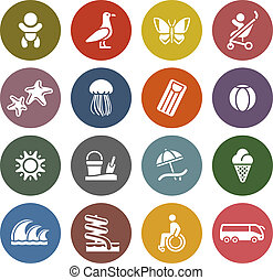 Vacation, Travel & Recreation, icons set - Retro color...