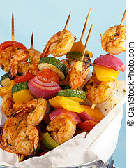 Shrimp and Vegetable Kebabs - Shrimp kebabs with colorful...