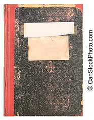 Old book or vintage diary with empty label - grainy surface