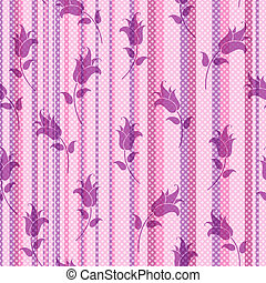 Seamless striped pink floral pattern