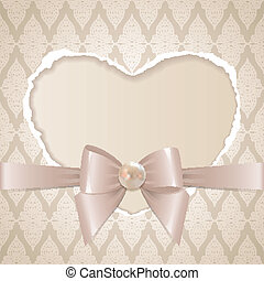 card with paper heart, glossy bow and pearl on old wallpaper