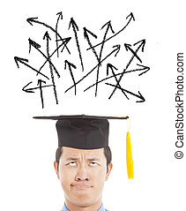 confused graduate looking many different direction arrow...