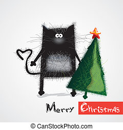 cat congratulates happy New Year and Christmas