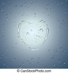 Heart water drops. Vector