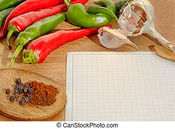 Vegetables and spices border and blank paper for recipes -...