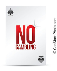 no gambling playing card illustration design over white