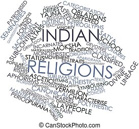 Word cloud for Indian religions - Abstract word cloud for...