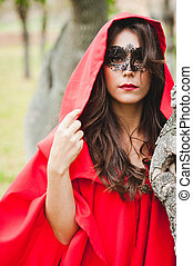Masked Red Riding Hood - Portrait of a masked Red Riding...