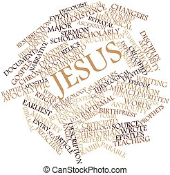 Word cloud for Jesus - Abstract word cloud for Jesus with...