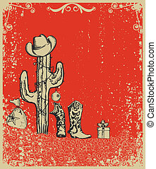 Christmas card with cowboy boots and cactus on old grunge...