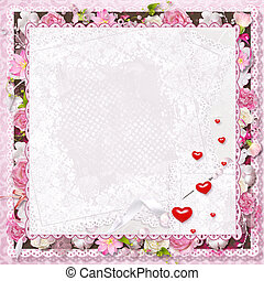 Valentines Day - pink floral greeting card with hearts for...