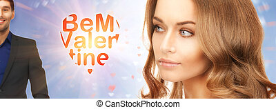 be my valentine - bright picture of lovely woman thinking...