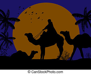 Bedouin camel caravan in wild africa landscape on sunset,...