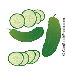 Fresh cucumbers and slices isolated on white background,...